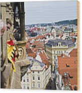 Trumpeter - Prague Old Town Square Wood Print