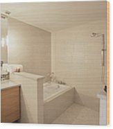 Tub And Shower In Bathroom Wood Print