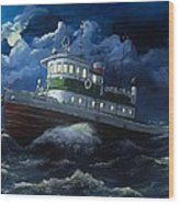 Tug Boat On Rough Water Wood Print by Virginia Sonntag