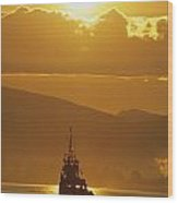 Tugboat At Sunrise, Burrard Inlet Wood Print by Ron Watts