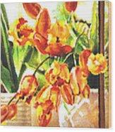 Tulipes A La Fenetre Wood Print