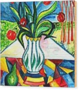Tulips And A Pear Wood Print