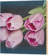 Tulips And Reflections Wood Print