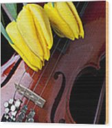 Tulips And Violin Wood Print