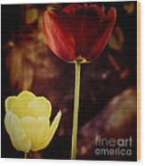 Tulips At Dusk Wood Print