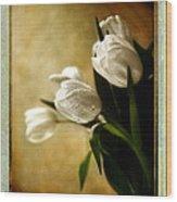 Tulips Side Sepia Wood Print