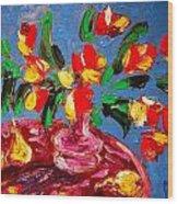 Tulips Vase Wood Print