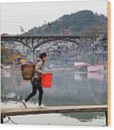 Tuojiang River In Fenghuang Wood Print