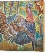 Turkey In Fall Wood Print