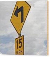 Turn Sign Wood Print