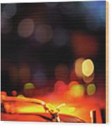 Turntable And Club Lights Wood Print