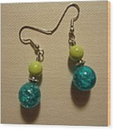 Turquoise And Apple Drop Earrings Wood Print