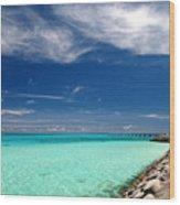 Turquoise Blue Sea Wood Print