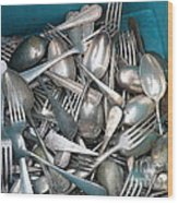 Turquoise Box Of Silverware Wood Print