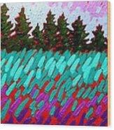 Turquoise Field Wood Print
