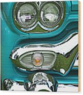 Turquoise Headlight Wood Print