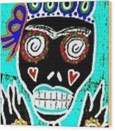 Turquoise Queen Sugar Skull Angel Wood Print