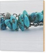 Turquoise Stones And Silver Chain Wood Print