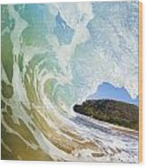 Turquoise Wave Breaking On Makena Shore Wood Print