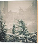 Turret In Snow Wood Print by Silvia Ganora