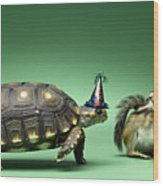 Turtle And Chipmunk Wearing Party Hats Wood Print