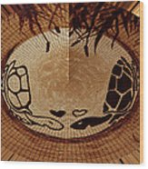 Turtles Love Digital Artwork Wood Print