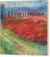 Tuscany Italy Landscape Poppy Field Wood Print