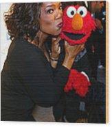 Tv Host Oprah Winfrey And Friend Elmo Wood Print