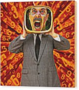 Tv Man Wood Print