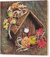 Tweet Little Bird House Wood Print by Andee Design