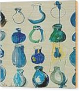 Twenty Blue Pots Wood Print