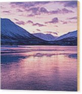 Twilight Above A Fjord In Norway With Beautifully Colors Wood Print