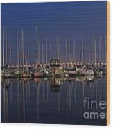 Twilight At The Marina By The Lift Bridge Wood Print