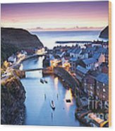 Twilight Glow Staithes Wood Print