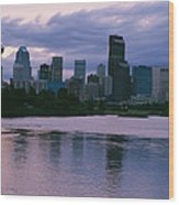 Twilight On The Bow River And Calgary Wood Print