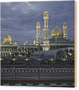 Twilight View Of An Illuminated Mosque Wood Print