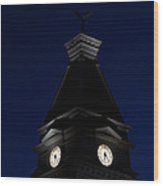 Twilight View Of Clock At Clarksville Historic Courthouse  Wood Print