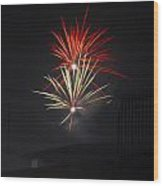 Twin Fireworks Wood Print