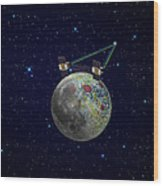 Twin Grail Spacecraft Map The Moons Wood Print