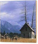 Twin Tree Cabin Wood Print