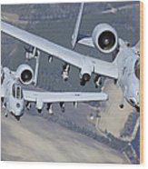 Two A-10c Thunderbolt II Aircraft Fly Wood Print