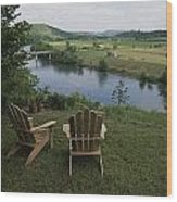 Two Adirondack Chairs On A Scenic Wood Print by Randy Olson
