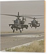 Two Ah-64 Apache Helicopters Prepare Wood Print