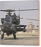 Two Ah-64 Apache Helicopters Return Wood Print