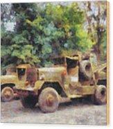 Two Army Trucks Wood Print