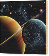 Two Artificial Moons Travelling Wood Print