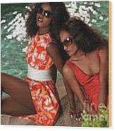 Two Beautiful Women In Dresses At The Pool Wood Print by Oleksiy Maksymenko