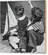 Two Boys Playing W/sailboats Wood Print