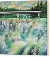Two Bridges And A Falls 2          Wood Print