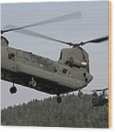 Two Ch-47 Chinook Helicopters In Flight Wood Print